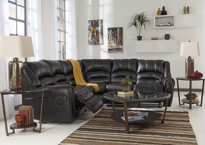 Harlem Furniture Manzanola Black Reclining Sectional W Cocktail Table 2 End Tables